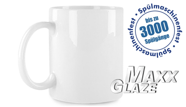 MAXX Glaze Sublimation-Keramikbecher, 11oz, weiß, Ø 80 mm, Höhe 95 mm