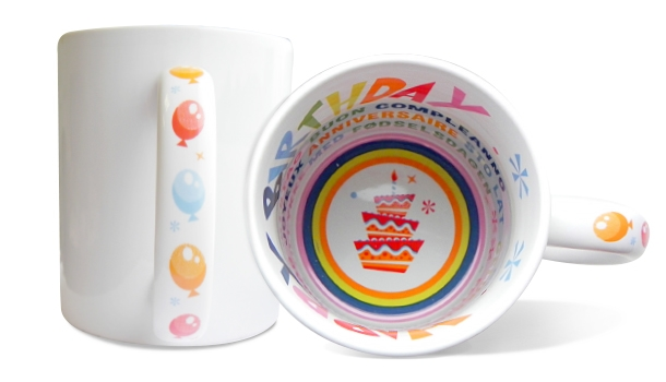 MAXX Glaze Sublimation-Themenbecher, 11oz, innen und Henkel mit Happy Birthday Design
