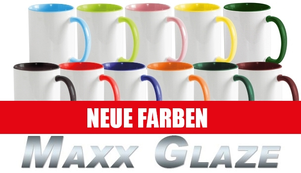 MAXX Glaze Sublimation-Keramikbecher Color Mug, 11oz, innen und Henkel farbig,